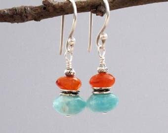 Amazonite Carnelian Earrings Sterling Silver Drop DJStrang Dangle Boho Chic Fiery Orange Pale Aqua Lever Back