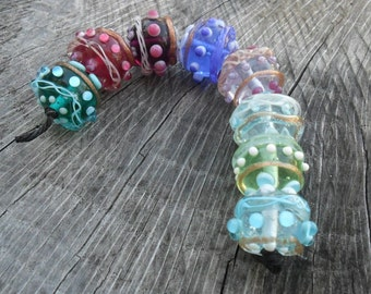 Sparkly Lampwork Rounds Set of 8 Artisan SRA Handmade Glass Beads Glassymom