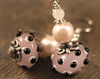 Pink lamp work black spotted beads, rose quartz stone, pink pearls and silver handmade earrings