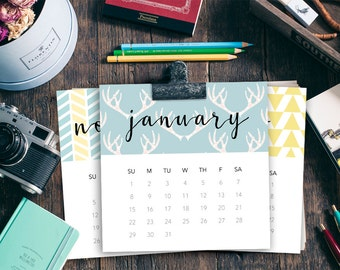 Modern Printable Calendar, 2017 Desktop Calendar, Last Minute Gift, CD Size, 4.75 inch Squares, Digital Download by piddix