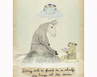 Donkey and Pig Friends a print