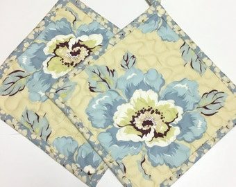 Potholders set of 2 Quilted Blue Floral Amy Butler Kitchen Cooking Hotpads
