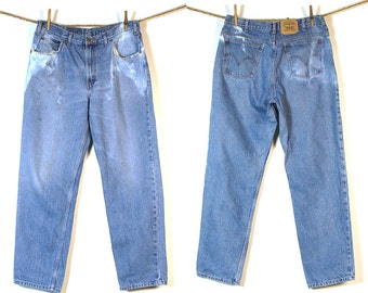80s Levi's Jeans / Vintage 1980s Levi's Distressed Bleached Denim / Orange Tab / 34 W x 30 L