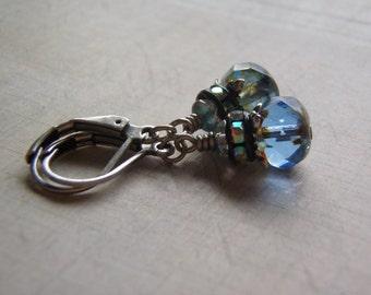 Sapphire Sparkle Earrings Glass Rhinestones Antique Silver Lever Back Ear Wire
