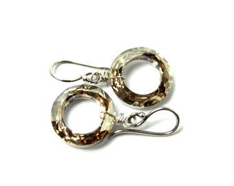 Metallic Gold Crystal Drop Earrings Classic Sparkling Golden Aurum Swarovski 14mm Cosmic Ring Circle Dark Oxidized Gunmetal Bright Classic