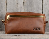 Leather Toiletry Bag with Exterior Pocket