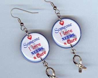cure awareness ribbon earrings - inspiration hope cancer diabetes lupus - Designs by Annette