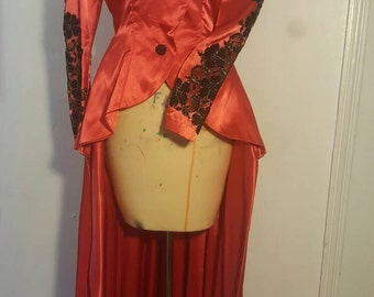 The Showstopper Fire Red Vintage peplum ringmaster duster by IM.BUTTERFLYCREATIONS
