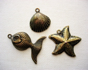 Cute Metal Beach Charms-Pendants Jewelry Components