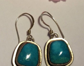 Winter Sale Vintage 1970s Native American Turquoise Sterling Silver Long Drop Earrings Pierced