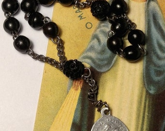 Winter Sale Saint St Anne Ann Vintage Petite Chaplet Rosary Beads Carved Ebony Wood Aluminum Religious Medal