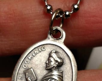 Vintage Saint St Dominic Patron of Astronomers Religious Medal Necklace Silver Long Steel Chain Italy