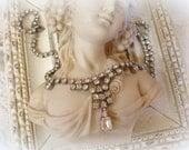 vintage mid century rhinestone necklace single row rhinestone chain with focal necklace prong set rhinestones