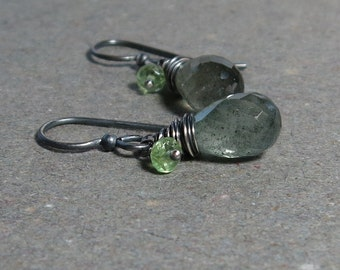 Moss Aquamarine, Peridot Earrings March, August Birthstone Oxidized Sterling Silver Earrings Gift for Her