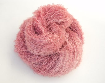 Bunny Ears, Hand Dyed, Hand Painted, Looped, Mohair, Yarn, Pink