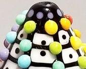 Rainbow Pop Dot Grid MIni Cone  --Handmade Lampwork Bead