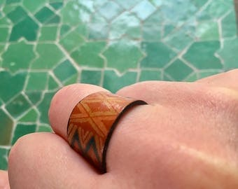 Beautiful hand-painted leather ring