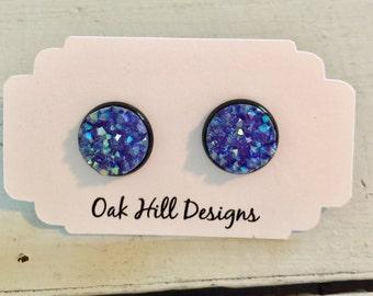 Purple druzy earrings-purple drusy earrings-purple earrings-prom earrings-bridesmaid earrings-faux resin druzy