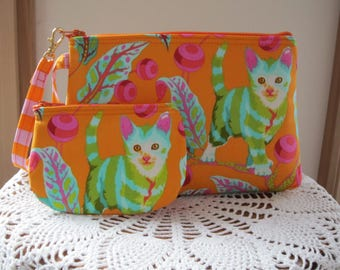 Smart phone Case Gadget Pouch Clutch Wristlet Zipper Gadget Pouch Bag Tabby Road Disco Kitty