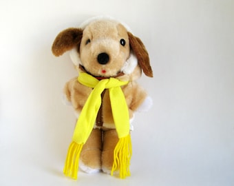 Vintage Puppy Dog Stuffed Animal Toy by Interpur Avon 1980s Toy with Fur Jacket and Yellow Scarf Plush