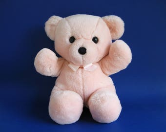Vintage Dakin Cuddles Teddy Bear Pink stuffed animal 1970s Toys Pink Ribbon Classic Teddy Bear