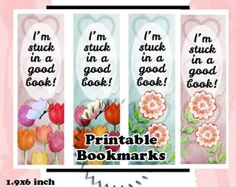 Printable watercolor floral bookmarks