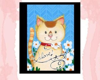 Cute cat acrylic painting digital download printable 5x7 jpg