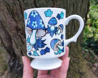 Vintage Blue Mushroom Coffee Cup / Mug - 1970s Era Collectible Funky Retro Mushrooms / Kitschy Toadstool / Shrooms Tea Cup Fun Gift For Her