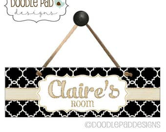 Personalized Door Sign, Black and White Qautrefoil with Gold Accent