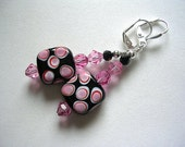 Pink Earrings Pink Black Lampwork Polka Dot Dangle Earrings Pink Lampwork 15mm Squares Silver Earrings Swarovski Crystals Leverback Hooks