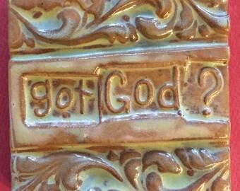 Got God? handmade earthenware tile by tilesmile