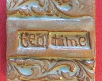 Tea time handmade earthenware tile by tilesmile