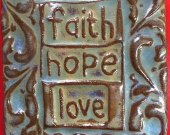 faith hope love handmade earthenware tile by tilesmile