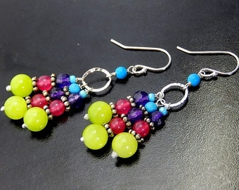 Colorful Chandelier Earrings, Boho Beaded Earrings, Neon Jade, Sterling Silver, Bright Bohemian Dangles
