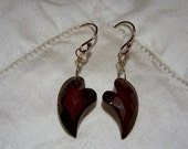 RESERVED...Garnet faceted heart briolette, 14k solid gold French earwire earrings