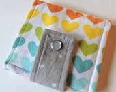 Rainbow Hearts Silver Hearts Scrap Fabric Wallet * Holds 8 cards and paper money * twilightdance