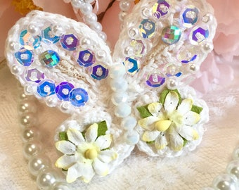 Shabby White Crochet Beaded Butterfly Brooch, Mothers Day Brooch, Pin, Wedding Butterfly, Cotton Crochet, Romantic Pin, Beaded Jewelry,
