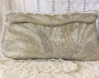Vintage Silver Beaded Bridal Shoulder Bag Clutch Evening Purse