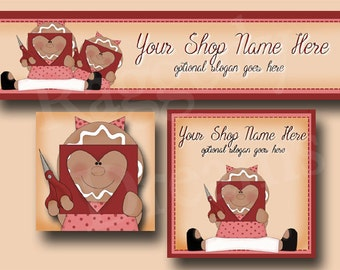 Premade Etsy Cover Photo  - Large Etsy Banner - Etsy Shop Banner - SHOP ICON - Valentine - Seasonal - Cute Gingerbread Girl - Hearts Crafts