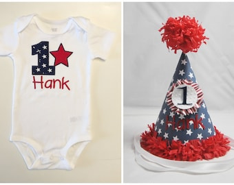 Patriotic 1st Birthday Shirt Bodysuit & Party Hat Set- Personalized- 4th of July