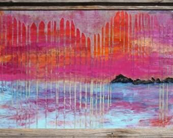 Black's Island 24x36 mixed media painting by Maxine Orange