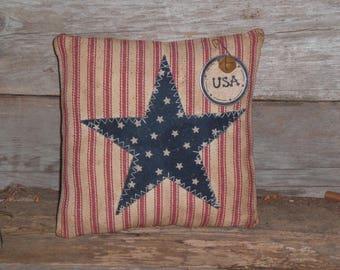 Prim - Patriotic - Grungy - Rustic - USA - July 4 - Red White Blue - Star - Americana - Bowl Filler - Ornie - Shelf Sitter - Mini Pillow