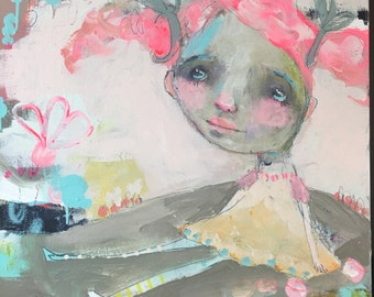 "Pinkie Pip - original 16""x16"" by Mindy Lacefield"