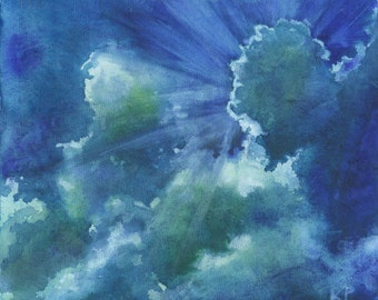 Clouds Storm Skyscape Original Acrylic Painting Abstract Impressionism Blue Green art
