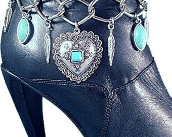 Turquoise Concho Heart Wings Feathers Chains Boot Jewelry Boot Bracelet Boot Bling Western Feathers Strap Biker Motorcycle Lady Rider Fringe
