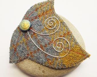Ivy Leaf Shaped Brooch Felt Mustard and Grey Harris Tweed