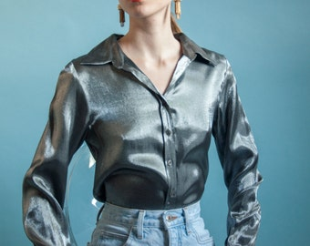 silver metallic blouse / metallic button down shirt / s / 1934t / B18