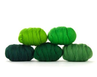 ON SALE Grand Greens Merino Variety Pack - 5 Colors - 50 grams per color = 250 Grams or 8.8 oz total to Spin, Felt, Create Fiber Art