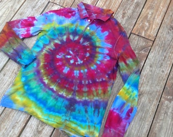 Mens large long sleeve upcycled Faded Glory polo shirt ice-dyed swirl pattern.