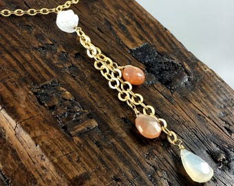 Long Gold Gemstone Layering Necklace in Blush with Quartz  Druzy, Peach Moonstone and Pearl Chalcedony